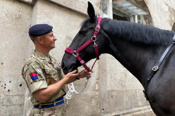 """Image 2 Captain Harry Grantham inspects """"Poleaxe"""" of the Queen's Life Gu..."""